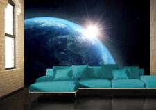 Papel Pintado Mural Tierra y sol decoración de Pared Grande Cosmos Azul y negro
