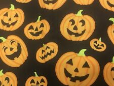 Smiling Laughing Pumpkin Fabric 5/6 Yard Cotton Orange Black Green Stem Rtc