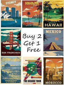 Vintage Retro Travel Posters Print Wall Art A4 A3 A2
