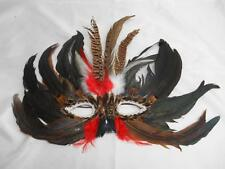 Old Vtg Hand-Crafted MARDI GRAS FACE MASK Assorted Feathers Halloween Costume