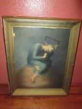 Vintage Antique Framed Print Picture Woman in Bandage Blindfold & Chain