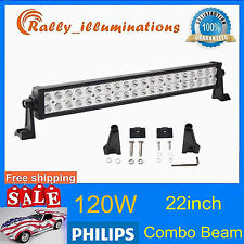 22in 120W Led Light Bar Spot Flood Offroad 4WD Boat Work Lamp 12V24V Philips RAL