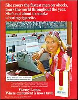 1974 Woman sports reporter formula cars Viceroy cigarettes photo Print Ad ads20