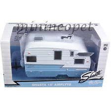 GREENLIGHT 18229 SHASTA 15' AIRFLYTE CAMPER TRAILER 1/24 BLUE CHASE GREEN TIRES
