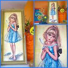 VTG 1960s Retro MOD Groovy Big Eye Kids Wall Art Print Girl Blonde Blue Dress