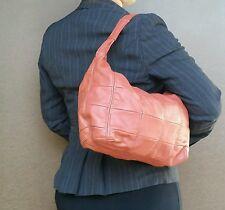 Women handbag - coral pink leather purse - rustic shoulder bag
