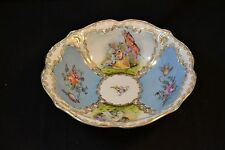 "Antique Rare C.T. Tielsch Germany Porcelain Portrait Bowl 9 1/8"" Double Gold"
