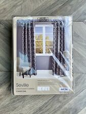 Dunelm Seville Lined Eyelet Curtains - Charcoal/Geometric