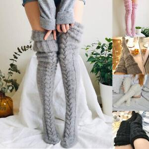 Women Over Knee Wool Knit Long Socks Winter Thigh-Highs Warm Socks Stocking UK