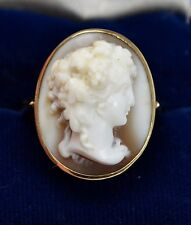 Fine 1920 9ct YELLOW GOLD & High Relief CAMEO of Goddess ARIADNE Ring - Sz O
