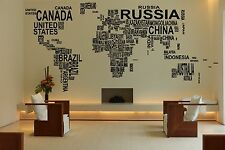 World Map Text Name Countries Erth Wall Vinyl Sticker Decal Decor Room Art F1720