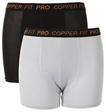 Copper Fit Boys' Big Performance Boxer Brief Two Pack, Steel/Onyx 2, Small (6/7)