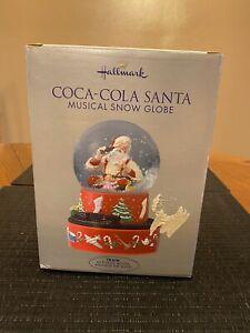 Hallmark Christmas Coca-Cola Santa Musical Snow Globe W/Moving Train 2001