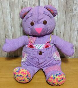 Secret Message Doodle Pets Bear Vintage 1995 Tyco Stuffed Plush Purple w Glasses
