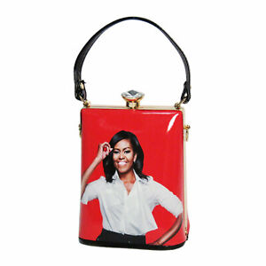VIBRANT CORAL MICHELLE OBAMA RHINESTONE TOP HANDLE BAG