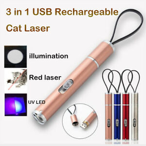 3 in 1 USB Rechargeable Funny Cat Chaser Toy Flashlight Laser Pointer UV LED Pen