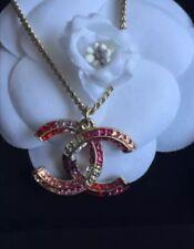 CHANEL CC Pink Swarovski Multi Color Chain Pendent Charm Necklace