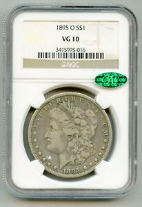 1895 O Morgan Silver Dollar NGC VG 10 and CAC Green Bean