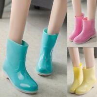 Womens pull on rain boots jelly low heel candy color summer sandal shoes casual