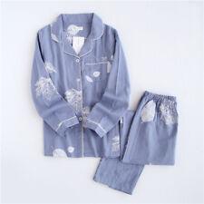 Hoja de impresión de Corea Conjunto de Pijamas para mujeres 100% Algodón De Gasa Mangas Largas Informal ropa para dormir