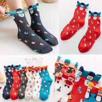 Cartoon Colorful 3D Print Women Cotton Sock Winter Christmas Lovely Girls Socks