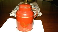 Vintage Tole Ware, Milk Can Container, Amber Gold, Hand Painted Fruit