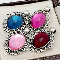 4 Vintage Stunning 1970s Glass Cabochon Pendants Blue Rose & Fuschia Pink Red