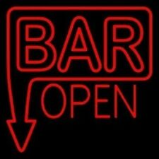 "New Bar Open Arrow Neon Light Sign 24""x20"" Lamp Poster Real Glass Beer Bar"