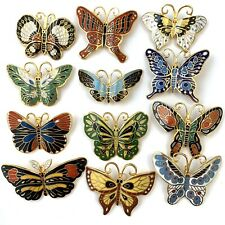 FULL SET OF 12 VINTAGE ENAMEL BUTTERFLY BROOCHES COSTUME JEWELRY LOT