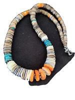 Native American Natural Navajo Sterling Silver Multicolor Shell Necklace 926