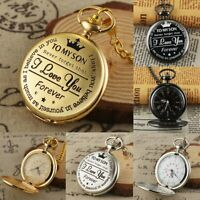TO MY SON I LOVE YOU Engraved Pocket Watch Quartz Fob Chain Vintage Roman Dial