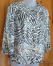 JM COLLECTION Brown & Ivory Animal Print LINEN SHIRT 3/4 Sleeve Easy Care 8P 10P