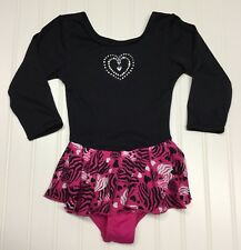 Just Imagine Girls Leotard Dress Tutu Sz S 6 6X  Black Leopard Print Hearts
