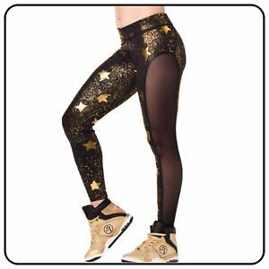 Zumba Fitness Gym Cosmic Panel Black & Gold Star Ankle Leggings Ladies Large