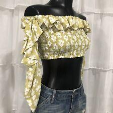 Sz 2 - FAITHFULL THE BRAND Smocked Off Shoulder Cropped Floral Blouse Top Hippi