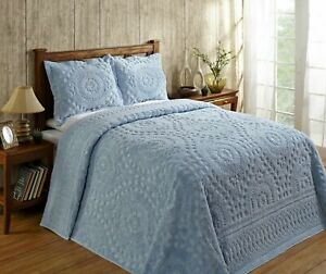 New Better Trends Rio 100% Cotton Tufted Chenille Bedspread Twin Blue  NWT