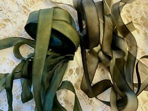 """Silk Hand Dyed 7/16"""" Ribbon on the Bias 1yd Made in USA"""