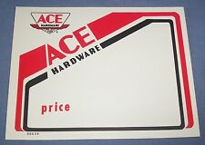 """Vtg Ace Hardware Store Sales Price Tag Sign Old Airplane Logo 5.5""""x7"""" Red White"""