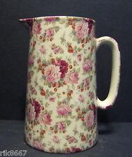 Heron Cross Pottery Strawberry Rose Chintz English 2 Pint Milk Jug