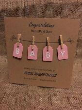 Lovely Handmade Personalised New Born Baby Girl Card