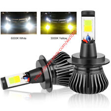 H11 H9 H8 LED Headlight Bulb Kit Low Beam Fog Light 60W White/Yellow Dual Color