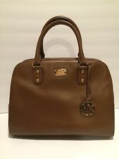 Michael Kors Sandrine Large Satchel Purse Handbag Leather Brown Dk Caramel $398