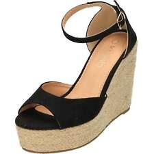 Wedge Heel Ankle Strap Peep Toe Platforms Woven Espadrilles Court Shoes