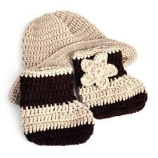 Baby Newborn Photography Photo Cap Hat Boot Cowboy Prop Knit Crochet Boy Girl