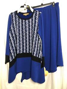 Donna Vinci Blue Sweater Set Size: XL Inventory #: L-108