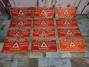 Vintage Metal Enamel Porcelain Caution Electric Warning Factory Sign Plaque