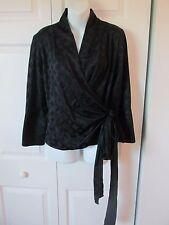 VERO MODA NWTs Wrap Surplice Black Diamond Jacquard Blouse Top Sz XL Long Sleeve