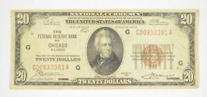 Rare 1929 $20 National Currency Chicago, IL Federal Reserve Bank Brown Seal *909