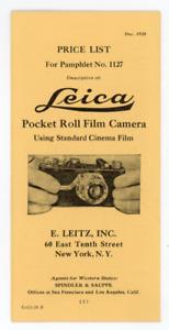 1928 Leica pocket roll film camera price list, ad pamphlet