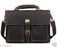 "Vintage Crazy Horse leather Men Briefcase Tote Large 15""laptop Bag Messenger Bag"